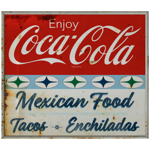 Enjoy Coca-Cola Mexican Food Decal 1960s Roadside Style Grunge 24 x 21