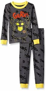 78bad356b7a9 Petit Lem Little Boy s Space Monster Pajama Set Gray with Yellow ...