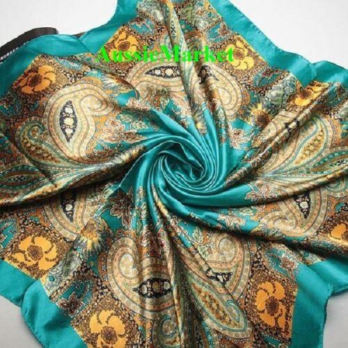 1 x ladies scarf shawl wrap silk satin woman cover 90cm square fashion scarves