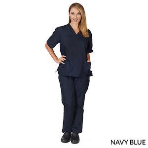 Medical-Nursing-Scrubs-Set-NATURAL-UNIFORMS-XS-S-M-L-XL-Unisex-Top-Pants