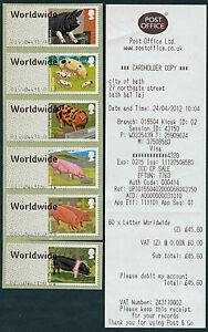 PIGS LARGE FONT ERRORS SET/6 WORLDWIDE & NO UPto10g TEXT POST & GO FASTSTAMPS