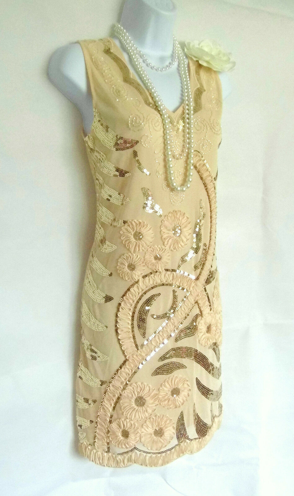 NUDE 20'S GATSBY VINTAGE LOOK CHARLESTON BEADED SEQUIN FLAPPER DRESS SIZE 10 12