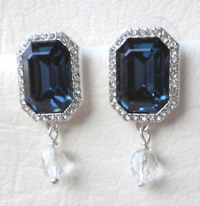 0d41b7e7d Blue and clear crystal rectangle stud earrings in silver tone Approx ...