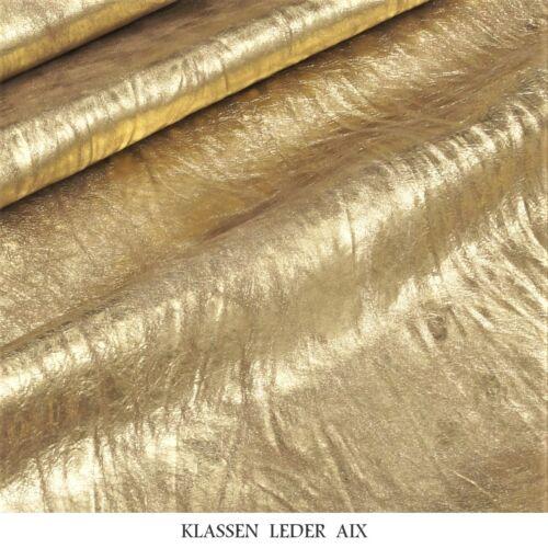 Lammleder Gold Antik Crash Metallic Design 0,9 mm Dick Echt Leder Fell Haut D145