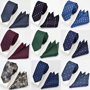 Men-Trendy-Paisley-Plaid-Floral-6CM-Necktie-Pocket-Square-Handkerchief-Set