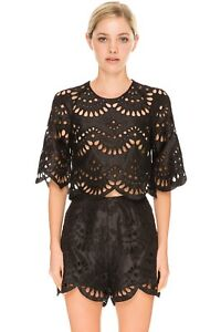 1724f9d94e33f4 Keepsake True Faith Black Lace Cut Out Silk Crop Top T Shirt ...