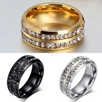 Men's Women Unisex Gold Silver CZ Stainless Steel Ring Wedding Band Rings Sz6-12