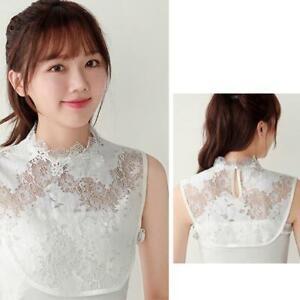 Women Turtleneck False Collar Hollow Floral Lace Detachable Dicky Half Blouse