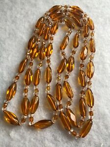 1930s-Vintage-Style-Necklace-Amber-Coloured-Glass-Flapper-Jewellery-Jewelry-Old