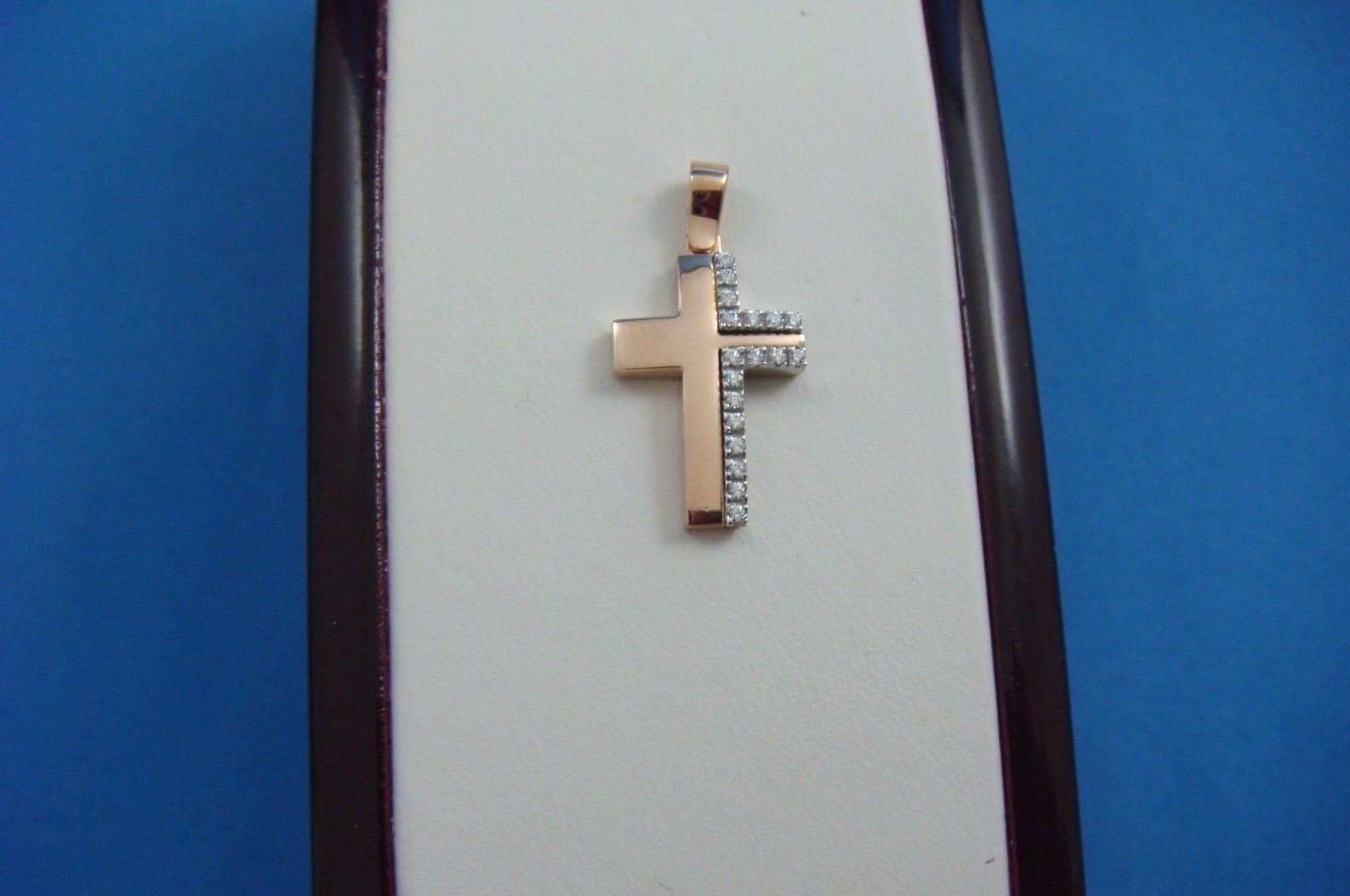 14K pink gold SMALL GIRL`S CROSS WITH WHITE SAPPHIRES 19.5 MM LONG