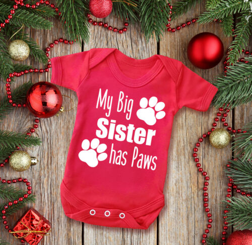 cat dog paws My Big sister has Paws short sleeve red baby grow bodysuit