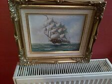 Fine 20th c, Framed English Oil Canvas. Sail Ship at Sea Study. Signed Ambrose.