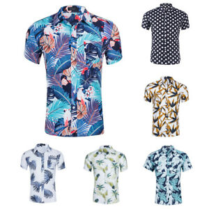 Mens-Cotton-Tropical-Short-Sleeve-Floral-Print-Beach-Casual-Aloha-Hawaiian-Shirt
