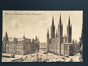 Postcard-Antique-1922-Germany-Wiesbaden-Markplatz-Rathaus-Hauptkirche
