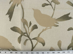 Drapery Upholstery Fabric Birds Branches Leaves Silhouette Print