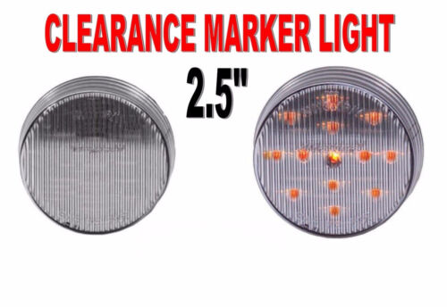 """Maxxima 2-1//2/"""" Round Clearance Side Marker light 13 LED Amber//Clear Lens"""