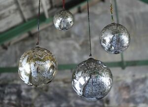 image is loading giant antique smoke bauble extra large 25cm silver - Mercury Glass Christmas Decorations