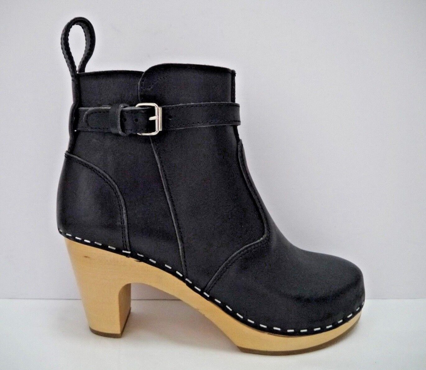 TOFFEL SWEDISH HASBEENS  329 Jodhpur black leather wood heel clog ankle boots 36