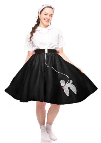 S to XL Sock Hop Set Hey Viv 50s Black Felt Poodle Skirt /& Crinoline Slip