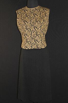 Sinnvoll Vintage 1960's Gold Metallic Abgeschnitten Schwarze Wolle Strick Anzug 3-teilig