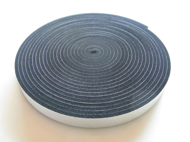 NEOPRENE RUBBER SELF ADHESIVE STRIP - 5MTRS LONG X VARIOUS SIZES