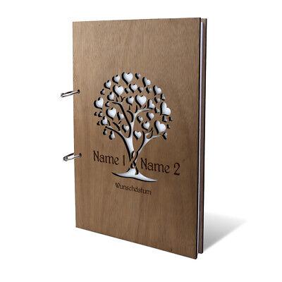 Ausdrucksvoll Hochzeit Gästebuch Holz Gravur Individuell Holzcover A4 Hoch - Herzbaum