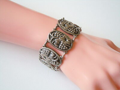Massives Antikes Armband Geprüftes Silber Weinrebe Motiv 58,9 G/länge 17 Cm Fine Jewelry