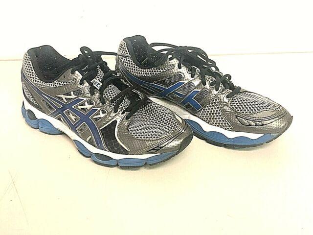Mens Asics Gel Nimbus 14 Running Sneakers Shoes SilverBlueBlack T241N SIZE 10