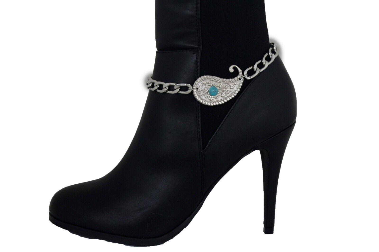 Women Boot Chain Bracelet Shoe Silver Metal Chain Paisley Blue Dot Charm Jewelry