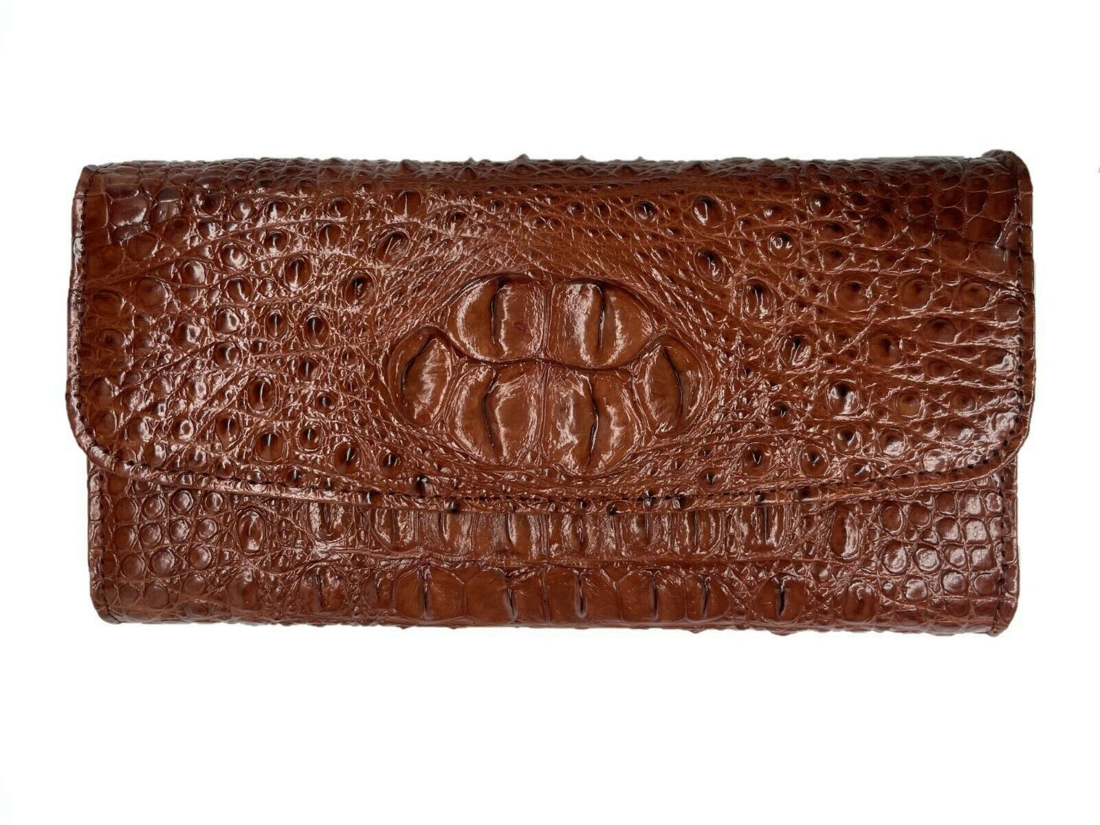 Cognac / Tan Genuine Crocodile Alligator Trifold Women's Wallet / Clutch