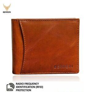 Mens 100%Genuine Leather Wallet RFID Bifold Cardholder with Slip Pocket Gift Box