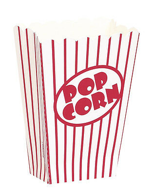 8 Small POPCORN BOXES - Red/White Stripes (Party/Food/Retro/Hollywood/Movie/Kid)