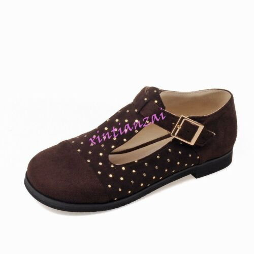 Womens Square Toe T-Strap Mary Jane Ankle Buckle Dot Flat Shoes Plus Size 2017