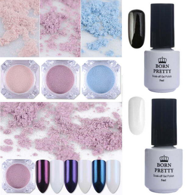 5pcs Born Pretty Nail Glitter Powder Pearl Mirror Pigment Uv Gel Polish Art