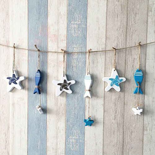 BG/_ FP Mediterranean Nautical Wall Decor Hanging Craft Wooded Fish Starfish Orn