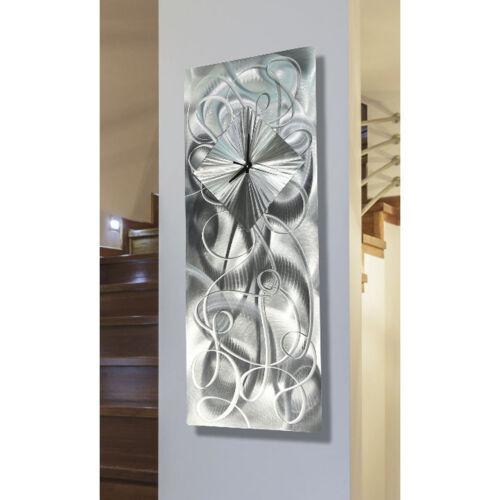 Statements2000 Silver 3D Metal Wall Clock Art Decor by Jon Allen Light Source