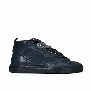 19d8ec5d559c Image is loading BALENCIAGA-ARENA-LEATHER-HIGH-SNEAKERS-BLUE-OBSCUR