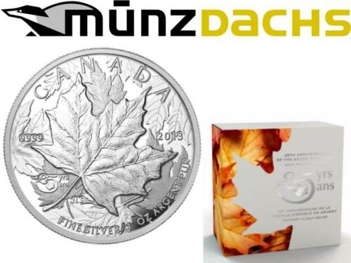 $5 25th Anniversary Maple Leaf High Relief Piedfort 1 oz silver Canada 2013