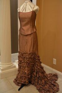 hip hop mauve evening 2piece corset dress sz4  prom