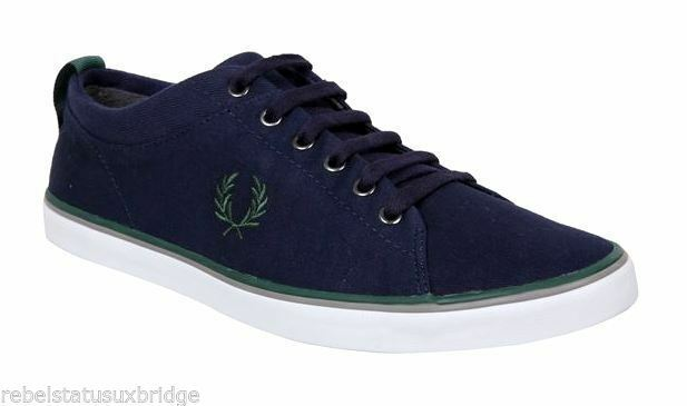 F rouge PERRY Chaussures Unisex Trainers Twill B4187 Hallam Navy Sizes:6 , 7