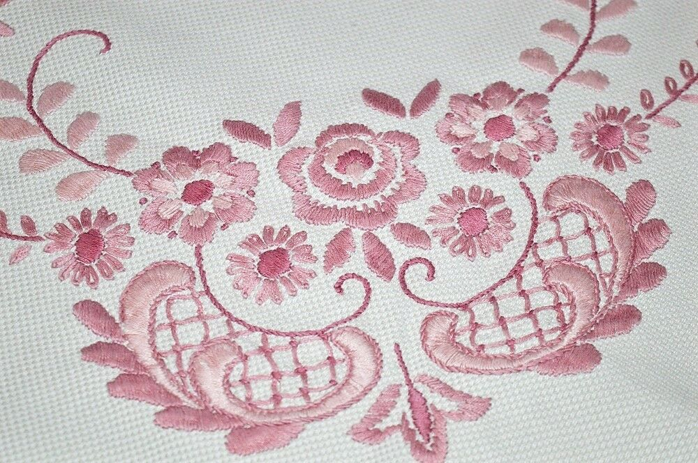PLAYFULLY rose SPRING COLLAGE & FEATHERY VINES  VTG GERMAN HAND EMB TABLECLOTH