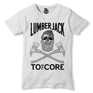33b6afc22 Lumberjack To The Core T Shirt Skull beard Hipster tshirt Tree ...