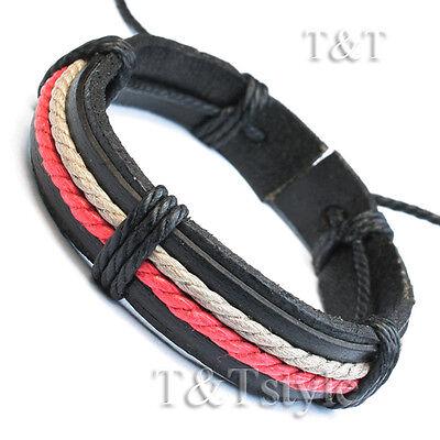 T&T Black Leather Bracelet Wristband (LB238)