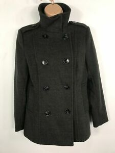 BNWT-WOMENS-H-amp-M-GREY-CASUAL-WINTER-BUTTON-JACKET-OVER-COAT-WITH-COLLAR-SIZE-12