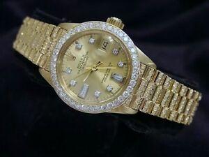 Lady Rolex Datejust 18k Gold President Watch Full Diamond Band Bezel