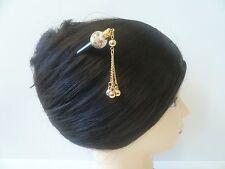 Japanese Handmade Tensha Beads WGold-tone Dangle Kanzashi Hairpin Stick Ornament
