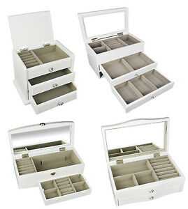 White Wooden Jewellery Box Display Drawer Present New Jewelry Boxes