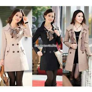 Women-Lapel-Double-Breasted-Windbreaker-Trench-Coat-Outwear-Long-Jacket-Overcoat