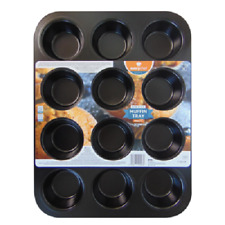 MUFFIN TRAY 12 DEEP CUP NON STICK MUFFIN FAIRY CAKE BAKING MOULD TIN FREE P&P