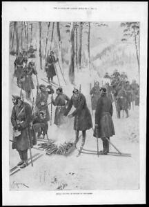 1897-Antique-Print-GERMANY-Infantry-Exercise-Snow-Shoes-Fire-Skis-Poles-280